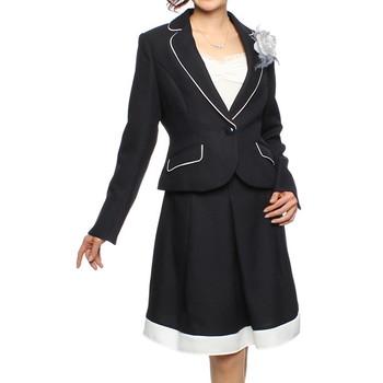 f-mode モノトーンデザイン スカートスーツ ネイビー
