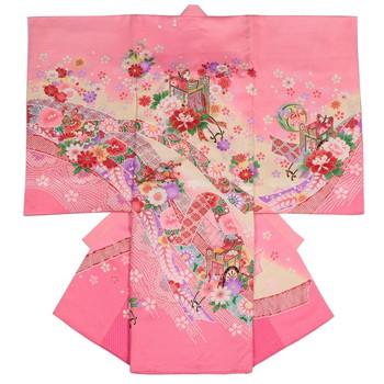 【女の子・お宮参り・産着レンタル6点フルセット】正絹 牡丹 桜 ピンク