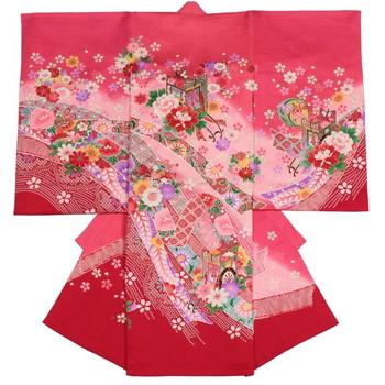 【女の子・お宮参り・産着レンタル6点フルセット】正絹 牡丹 疋田模様 ピンク