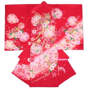 【女の子・お宮参り・産着レンタル6点フルセット】正絹 桜 金糸 レッド