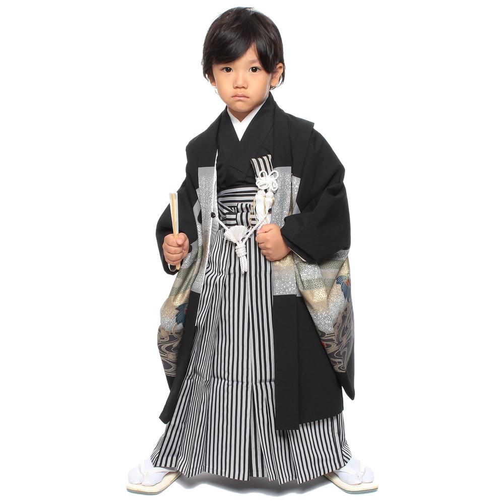 【キッズ】七五三/節句 5才 男児袴セット 渦巻き模様 兜 ブラック