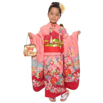 【キッズ】七五三/節句 7才 着物セット 華やか 牡丹柄 ピンク