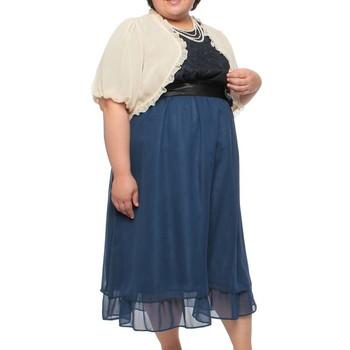 【3点セット】f-mode フリルボレロ付き 胸元レース仕立て ミディアムドレス ブルー