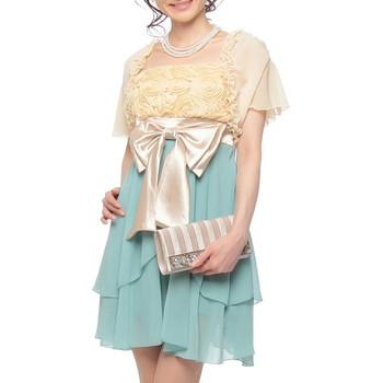 【4点セット】f-mode 3Dローズ ミディアムドレス グリーン