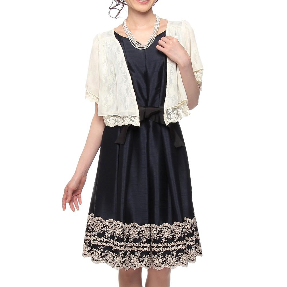 【3点セット】C'EST LA VIE 縦ラインタック&レーススカート ミディアムドレス ネイビー