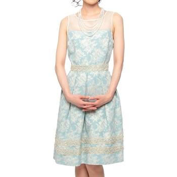 【2点セット】C'EST LA VIE 上品ワンピース風 パール仕立て ミディアムドレス ライトブルー