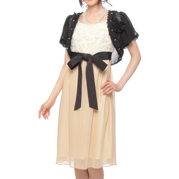 【3点セット】C'EST LA VIE バラモチーフ ハイウエスト ミディアムドレス ベージュ