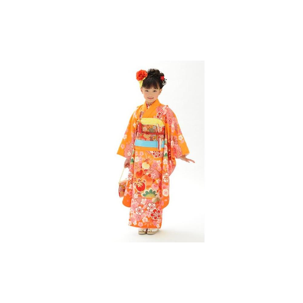 【キッズ】七五三/節句 7才 着物セット 可憐 大輪 オレンジ