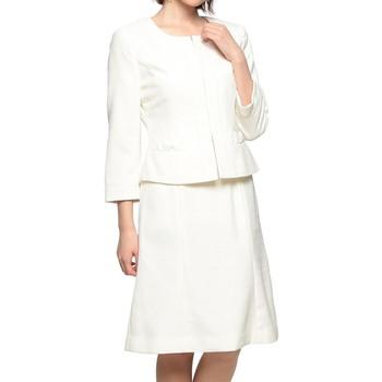 suffuse ノーカラージャケット スカートスーツ ホワイト