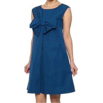 ストロベリーフィールズ Aライン フロントリボン ミディアムドレス ブルー