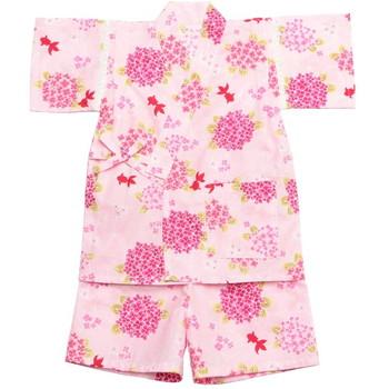 【キッズ】甚平 紫陽花 金魚 ピンク