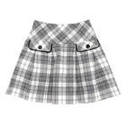 【まとめ借り割引商品】ポンポネット フラップポケット チェック柄 スカート