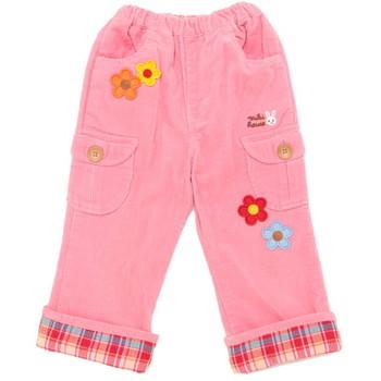 【まとめ借り割引商品】ミキハウス 裾チェック 花ワッペン パンツ ピンク