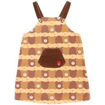 【まとめ借り割引商品】ミキハウス クマ柄 胸ポケット ワンピース ブラウン