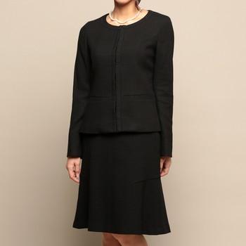 インディヴィ ノーカラー スラブ ツイード スカートスーツ ブラック