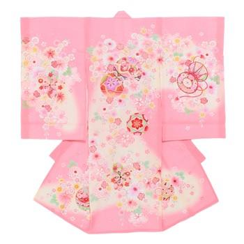 【女の子・お宮参り・絽(夏用)レンタル6点フルセット】正絹 毛毬 桜 ピンク