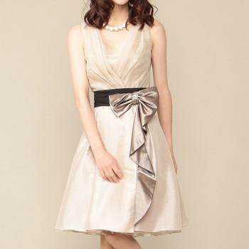 シーズ リボン付オーバースカート バック編上げ ノースリーブ ミディアムドレス ベージュ