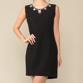 エディグレース ネックビジュー タイトスカート ミディアムドレス ブラック