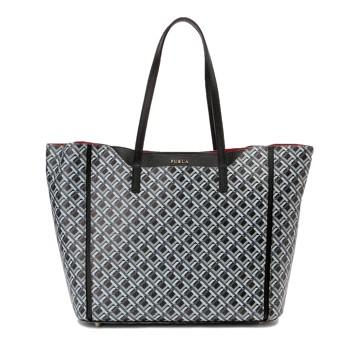 フルラ 幾何学デザイン トートバッグ ブラック×グレー