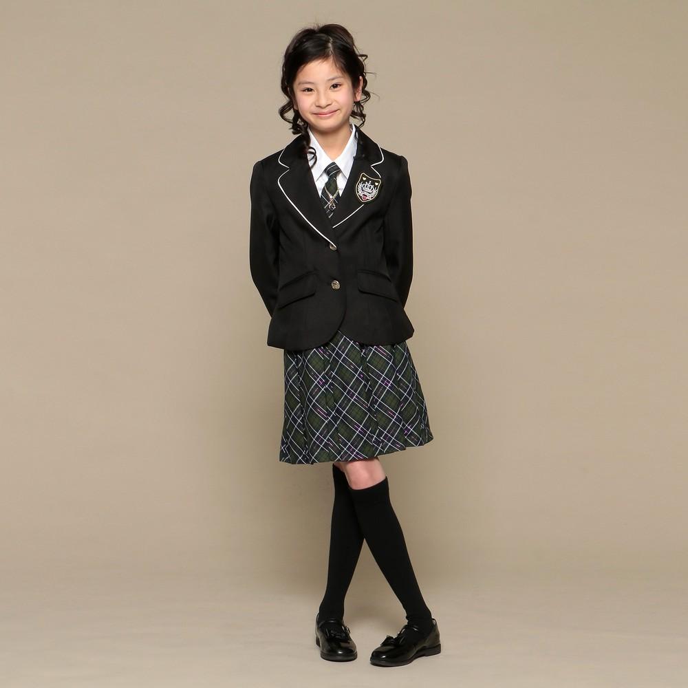 レディースファッションレンタル、スーツ、ジュニア、グリーン 【ジュニア】リトルリード スーツ ネイビー×グリーン
