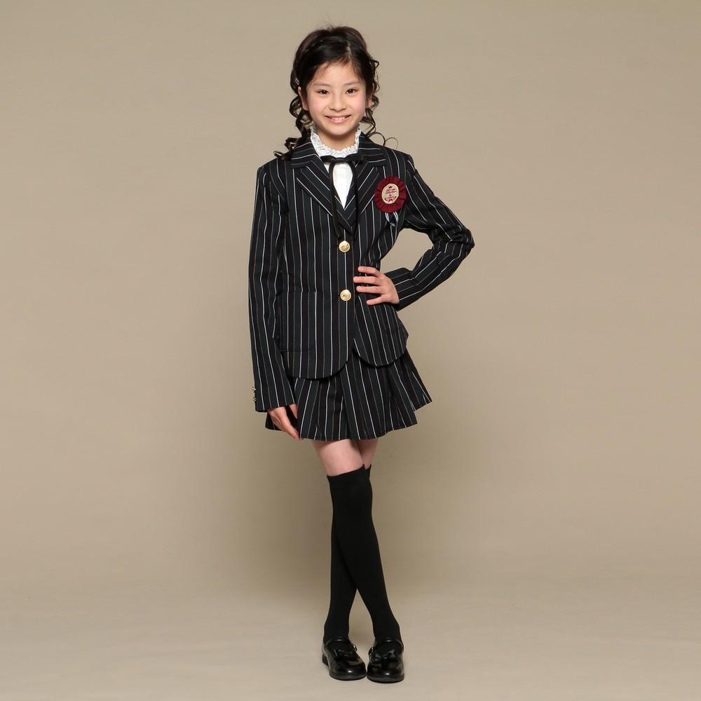 レディースファッションレンタル、スーツ、ジュニア、グリーン 【ジュニア】ストライプ スーツ ブラック×グリーン