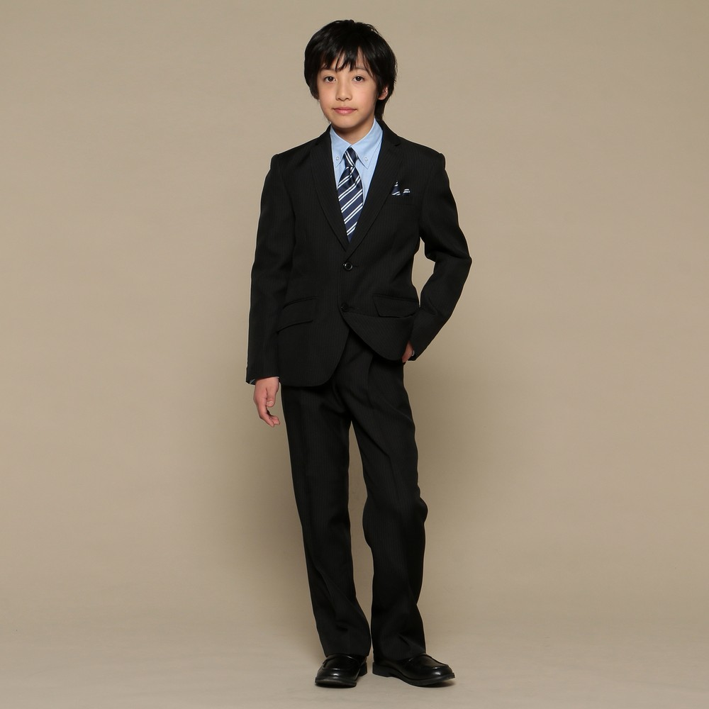 [iteminfo_actress_name] メンズファッションレンタル、スーツ、ジュニア、ブラック 【ジュニア】ストライプ スーツ ブラック