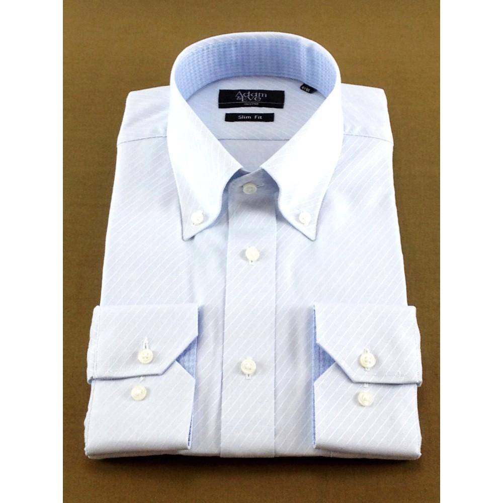 メンズファッションレンタル、ワイシャツ、シャツ/ネクタイ、ブルー アダムアンドイヴ 斜めストライプ Yシャツ ブルー
