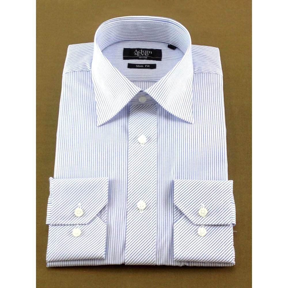 メンズファッションレンタル、ワイシャツ、シャツ/ネクタイ、ブルー アダムアンドイヴ ペンシルストライプ Yシャツ ブルー