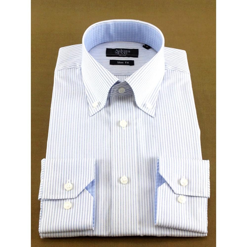 メンズファッションレンタル、ワイシャツ、シャツ/ネクタイ、ブルー アダムアンドイヴ ペンシルストライプ ボタンダウン衿 Yシャツ ブルー
