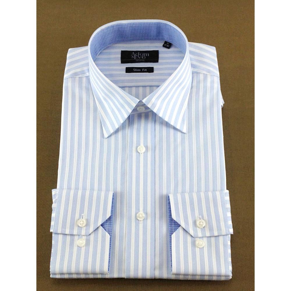 メンズファッションレンタル、ワイシャツ、シャツ/ネクタイ、ブルー アダムアンドイヴ ロンドンストライプ Yシャツ ブルー