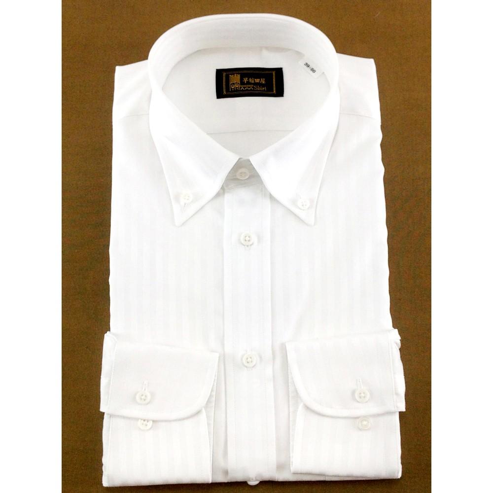 メンズファッションレンタル、ワイシャツ、シャツ/ネクタイ、ホワイト 早稲田屋 シャドーストライプ Yシャツ ホワイト