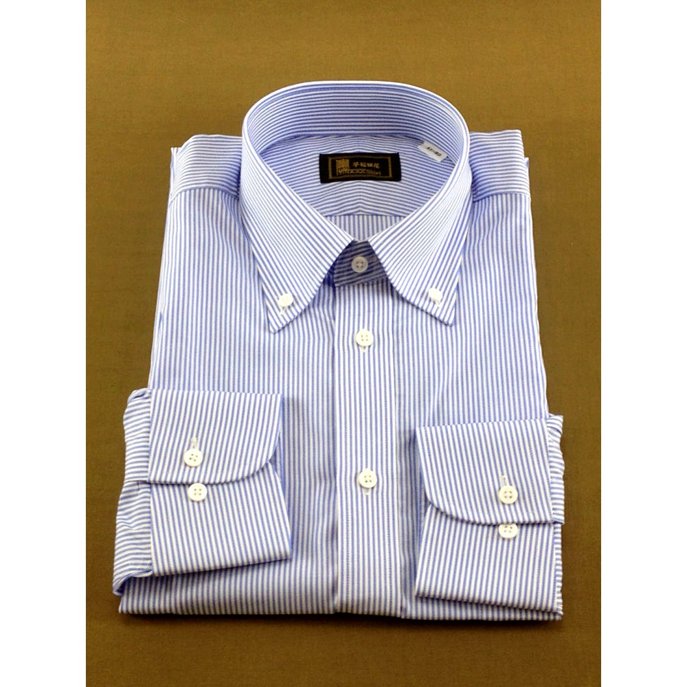 メンズファッションレンタル、ワイシャツ、シャツ/ネクタイ、ブルー 早稲田屋 ペンシルストライプ Yシャツ ブルー