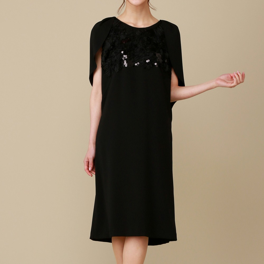 [iteminfo_actress_name] レディースファッションレンタル、ミディアムドレス、ドレス、ブラック シーズ 胸元スパンコール ミディアムドレス ブラック