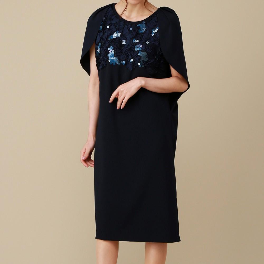 レディースファッションレンタル、ミディアムドレス、ドレス、ネイビー シーズ 胸元スパンコール ミディアムドレス ネイビー