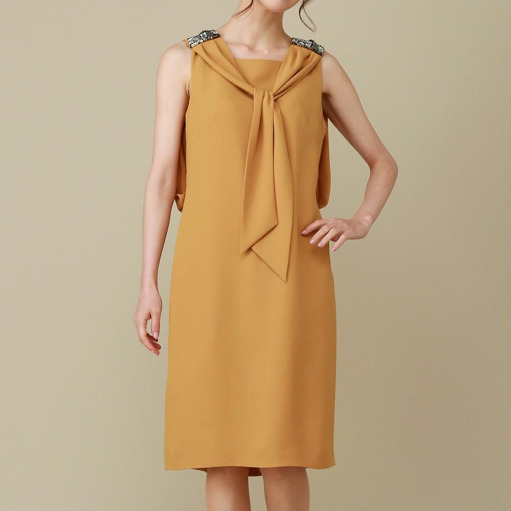 レディースファッションレンタル、ミディアムドレス、ドレス、イエロー シーズ ショルダービジュー ボータイ ミディアムドレス イエロー