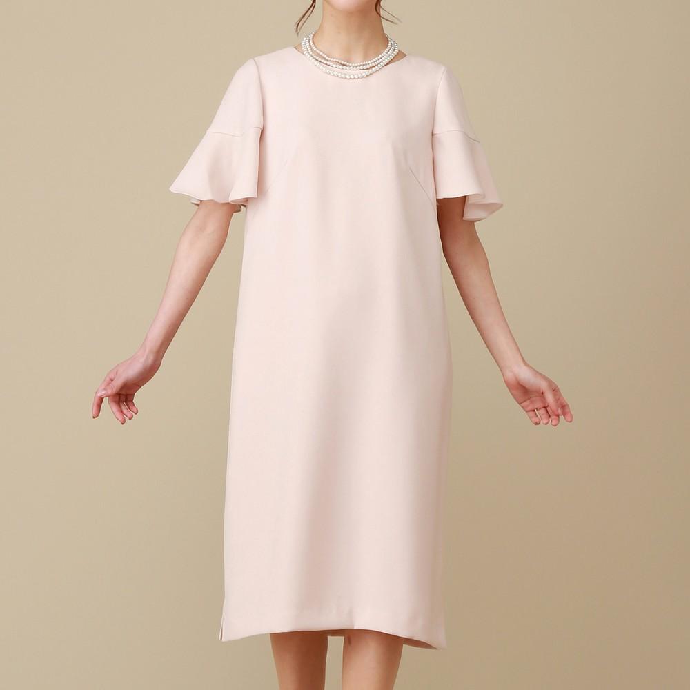 レディースファッションレンタル、ミディアムドレス、ドレス、ピンク シーズ ボリュームスリーブ ミディアムドレス ピンク