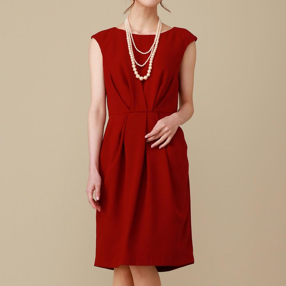 レディースファッションレンタル、ミディアムドレス、ドレス、レッド シーズ ウエストプリーツ ミディアムドレス レッド