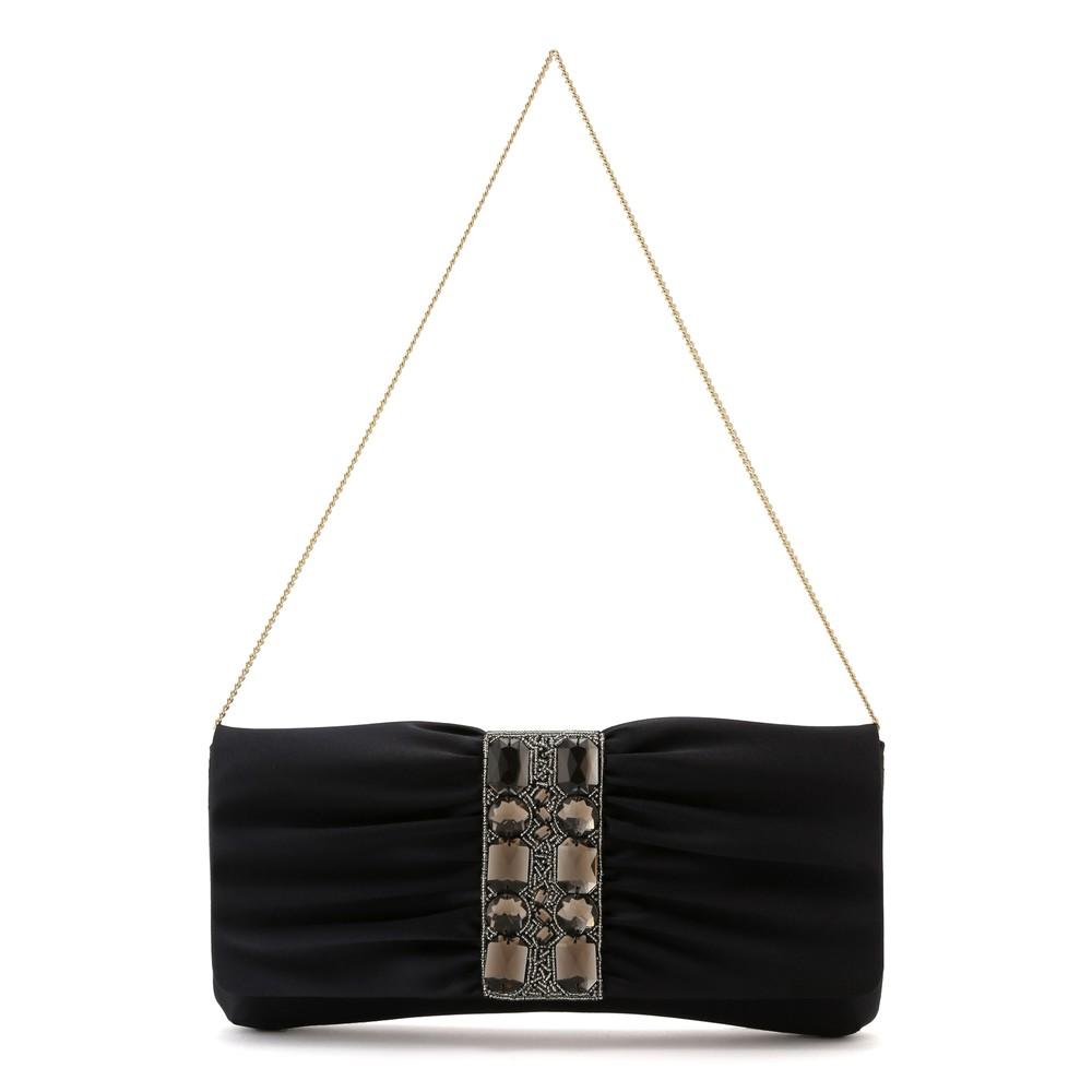 レディースファッションレンタル、クラッチバッグ、バッグ、ブラック プリフェレンス 大粒ビジュー クラッチバッグ ブラック