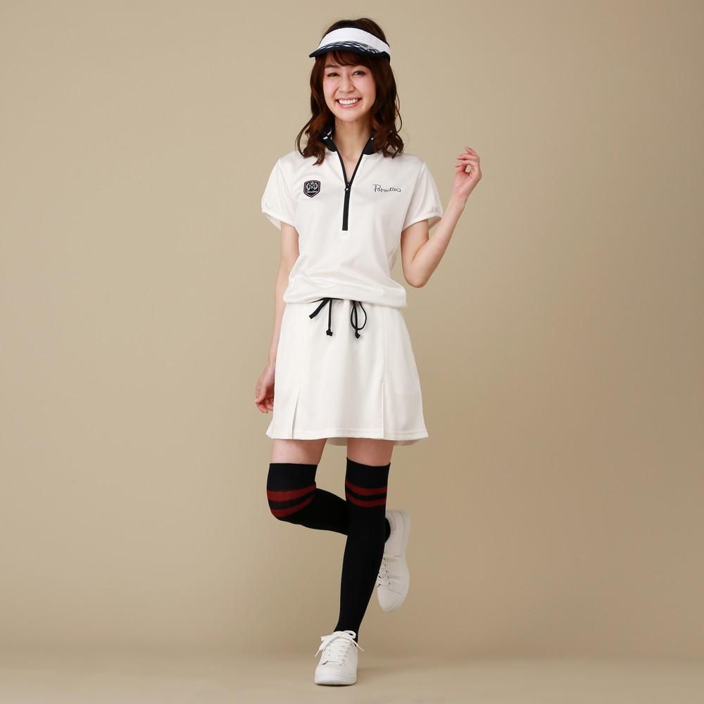 [iteminfo_actress_name] レディースファッションレンタル、ゴルフウェア、スポーツウェア、ホワイト パラディーゾ シンプルワンピース ゴルフウェア ホワイト