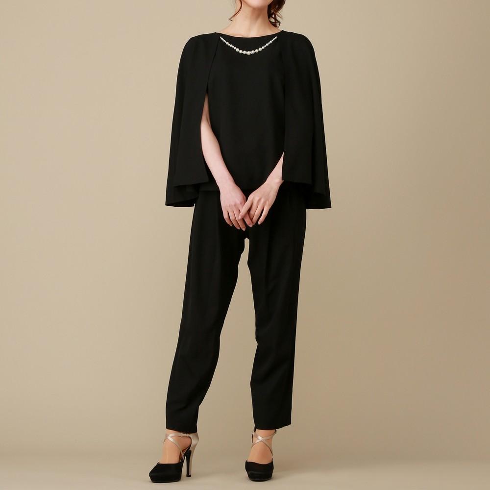 レディースファッションレンタル、パンツドレス、ドレス、ブラック パラダイスピクニック ケープ付きパンツドレス ブラック