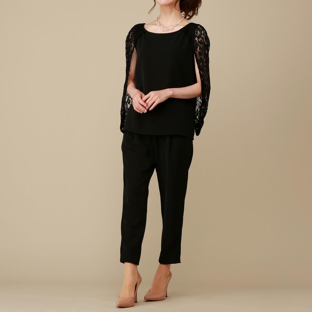 レディースファッションレンタル、パンツドレス、ドレス、ブラック ガール レースケープ付きブラウス パンツドレス ブラック