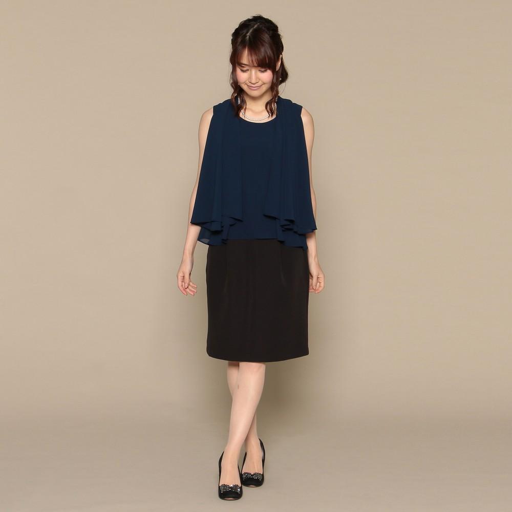 レディースファッションレンタル、ミディアムドレス、ドレス、ネイビー スウィートアズ 4WAY ミディアムドレス ネイビー×ブラック