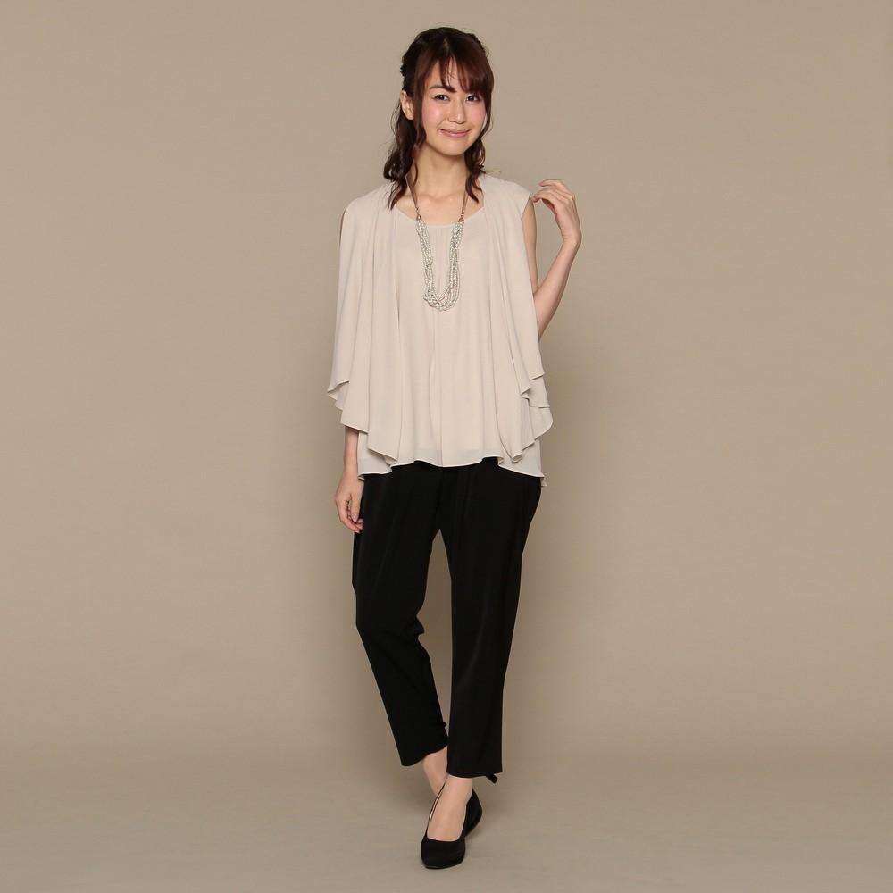 レディースファッションレンタル、パンツドレス、ドレス、ブラック スウィートアズ 3WAY パンツドレス ベージュ×ブラック