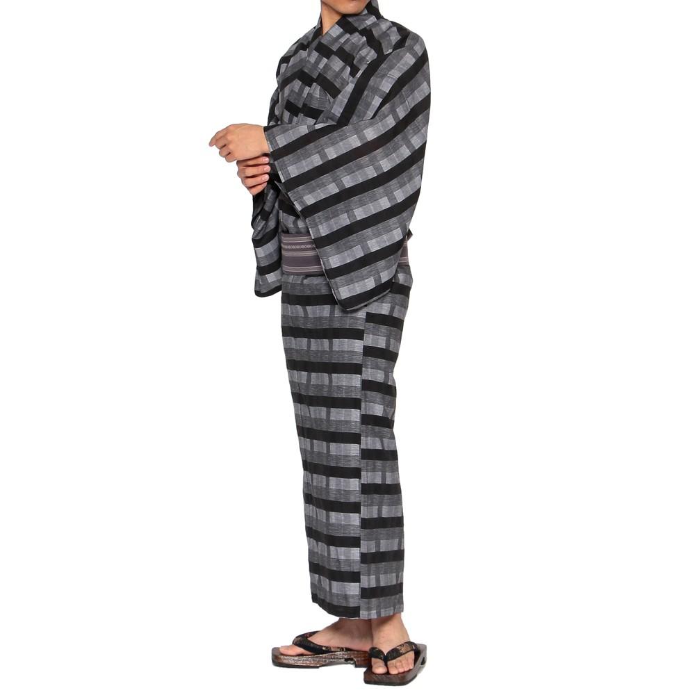 メンズファッションレンタル、浴衣、和装、ブラック チェック柄 浴衣セット ブラック×グレー