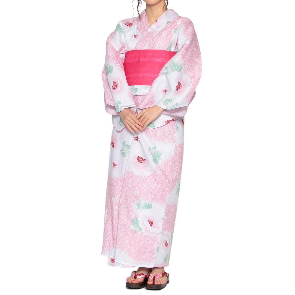 レディースファッションレンタル、浴衣、和装、ピンク 桜模様 浴衣セット ピンク