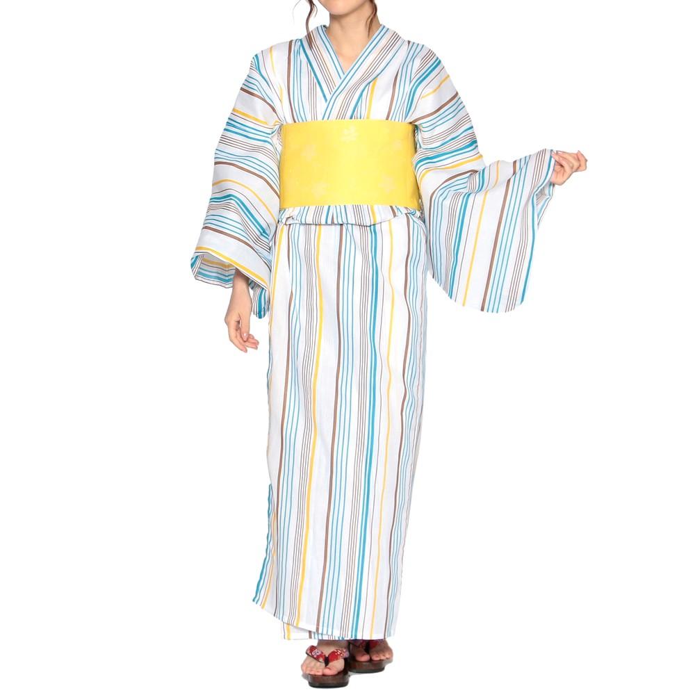 [iteminfo_actress_name] レディースファッションレンタル、浴衣、和装、ホワイト マルチストライプ柄 浴衣セット ホワイト