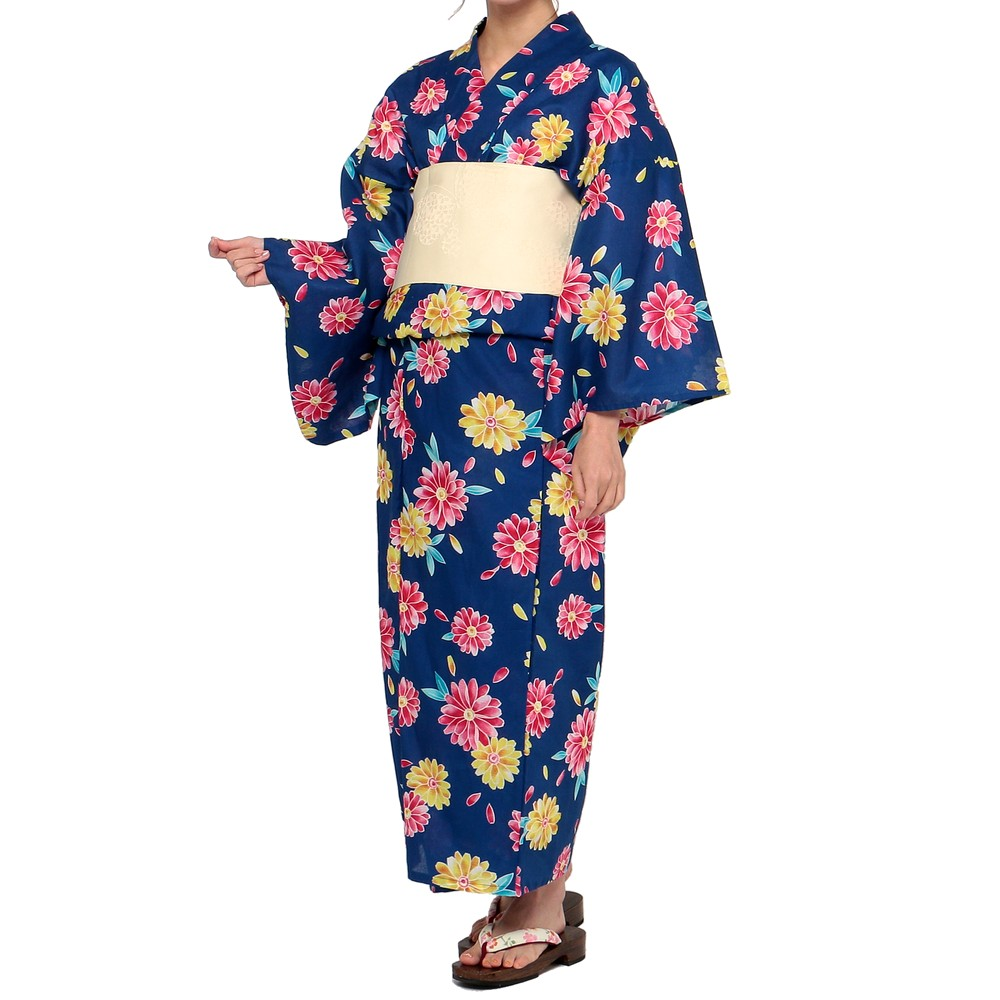 レディースファッションレンタル、浴衣、和装、ネイビー 菊模様 浴衣セット ネイビー