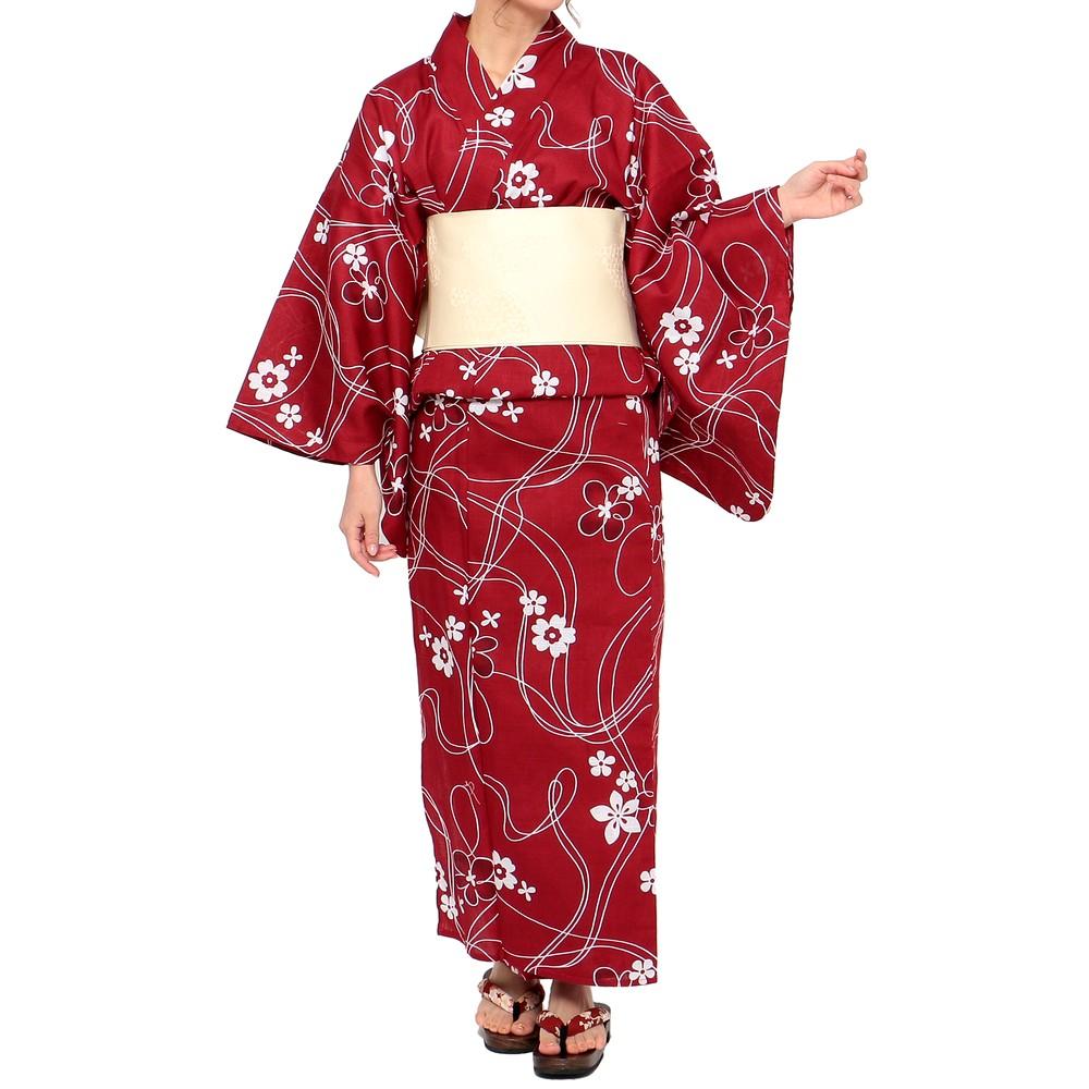 [iteminfo_actress_name] レディースファッションレンタル、浴衣、和装、レッド 桜模様 浴衣セット レッド