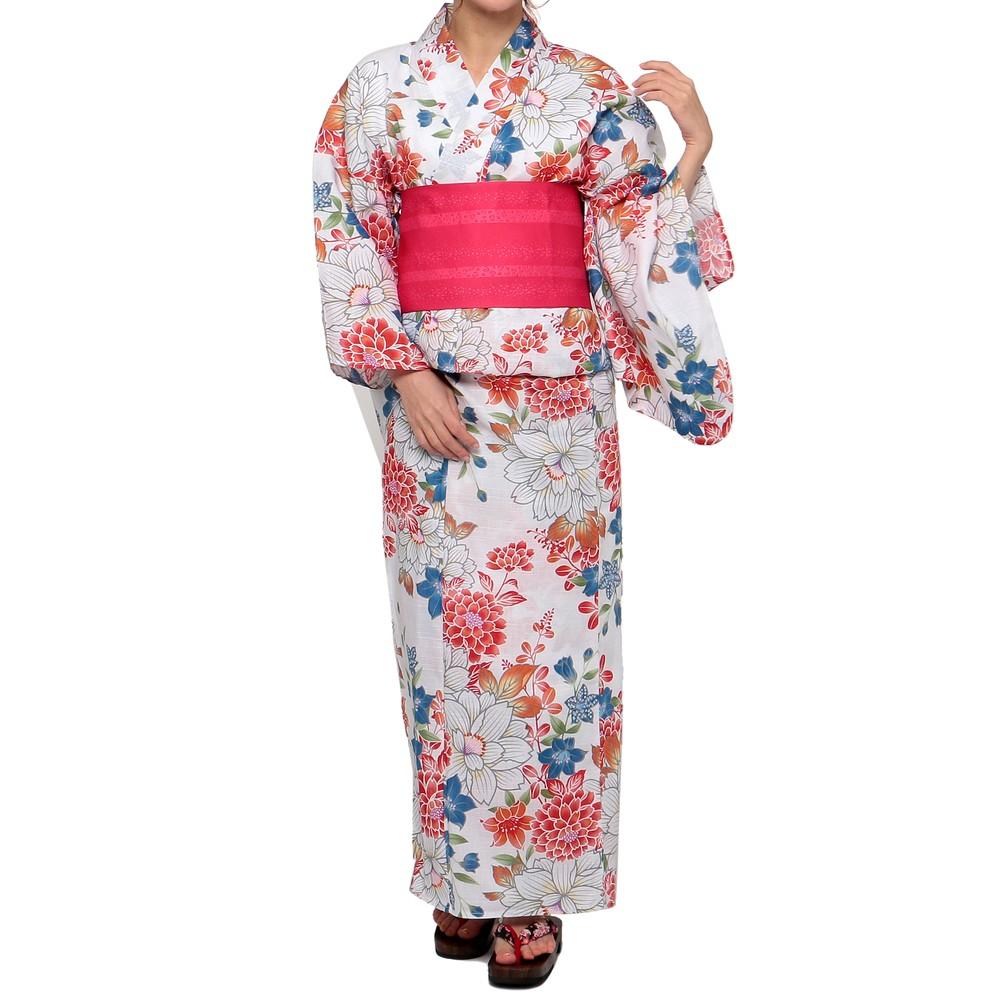 [iteminfo_actress_name] レディースファッションレンタル、浴衣、和装、ホワイト 牡丹・桔梗模様 浴衣セット ホワイト