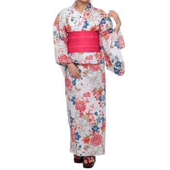 牡丹・桔梗模様 浴衣セット ホワイト